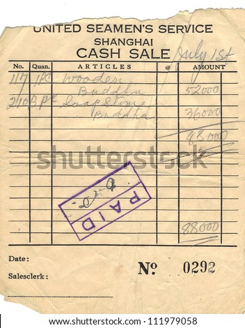 United Seamans Service Shanghai Cash Sale Receipt Circa 1940u0027s  Cash Sale Receipt