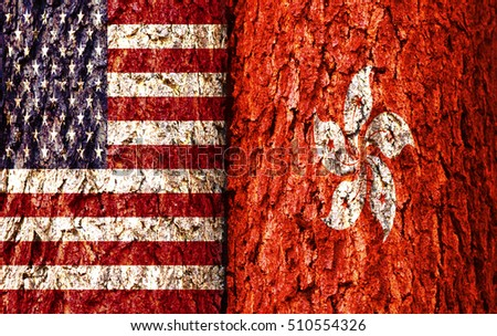 United Stage Flag and Hong Kong Flag over crack and grunge wall texture background. Forex USDHKD concept.