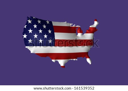 United state of America flag super embossed on map - stock photo