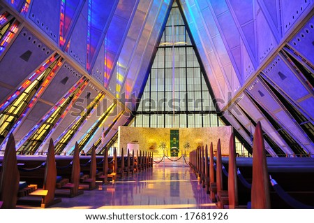 United States Air Force Academy Chapel Interior - stock photo