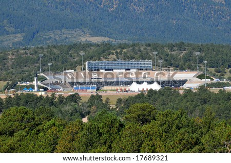 United States Air Force Academy Falcons Football Stadium near Colorado Springs, Colorado set against the Rocky Mountains - stock photo