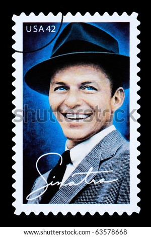 UNITED STATES AMERICA - CIRCA 2003: A postage stamp printed in the USA showing Frank Sinatra, circa 2003 - stock photo