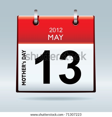 United states and canada mothers day for 2012 on calendar - stock photo