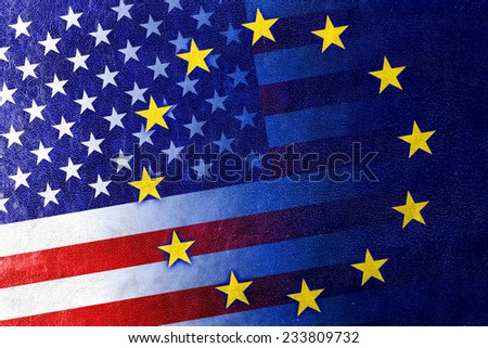 United States and European Union Flag painted on leather texture