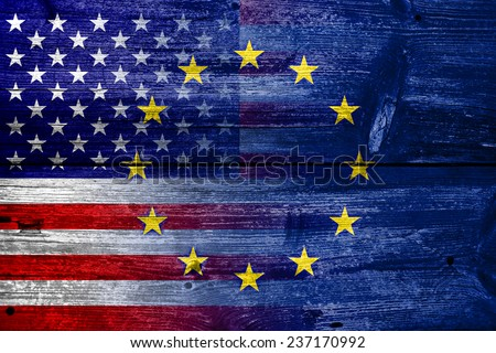 United States and European Union Flag painted on old wood plank texture - stock photo