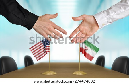 United States and Iran diplomats agreeing on a deal - stock photo
