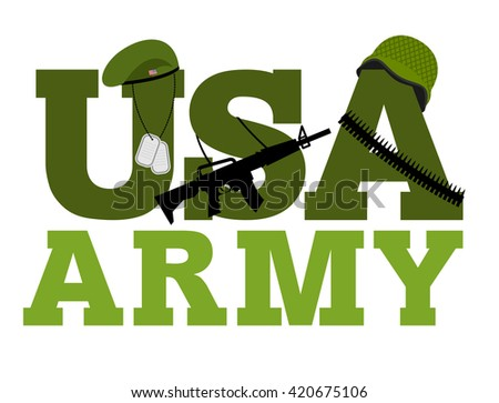 United States Army. Military text logo. American army. Green beret and protective soldiers helmet. Military Rifle and army badge. Bandolier. bandolier, ammunition belts - stock photo