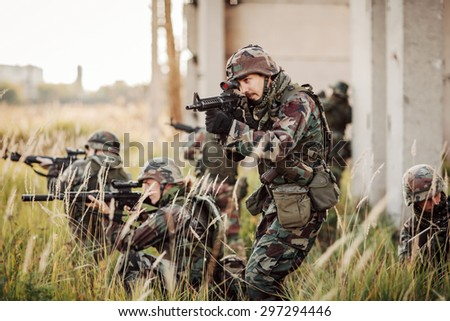 United States Army rangers during the military operation in city