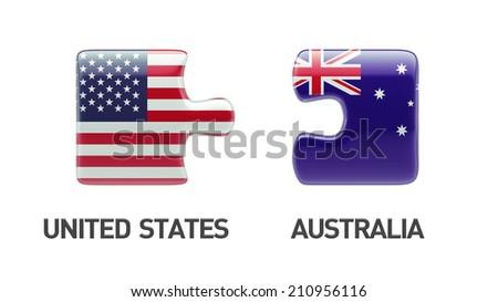 United States Australia High Resolution Puzzle Concept - stock photo