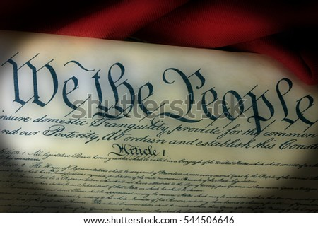 United States Bill of Rights Preamble to the Constitution and American Flag