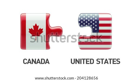 United States Canada High Resolution Puzzle Concept - stock photo