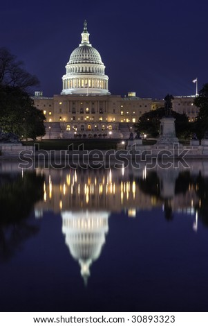 United States Capitol at night - stock photo