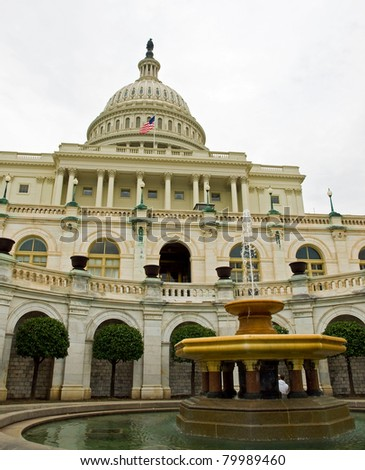 United States Capitol Building and Fountain in Washington DC - stock photo