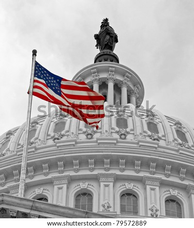 United States Capitol Building in Washington DC in Black & White and American Flag in Color - stock photo