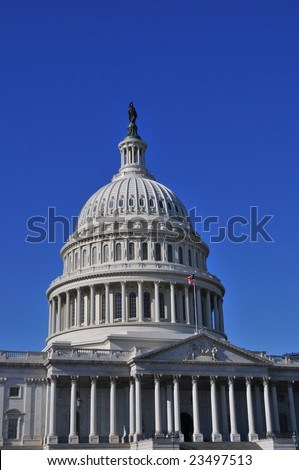 United States Capitol Building, Washington DC with lots of copy space - stock photo