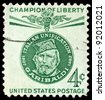 UNITED STATES - CIRCA 1960: A 4 cents stamp printed in the United States shows medal with a portrait of Giuseppe Garibaldi (1807-1882), circa 1960 - stock photo