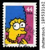 UNITED STATES, CIRCA 2009: A Postage stamp from the USA featuring an image of Marge Simpson from The Simpsons, circa 2009. - stock photo