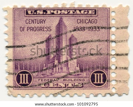 UNITED STATES - CIRCA 1933: A postage stamp of the printed in the United States, shows Federal Building at Chicago, circa 1933