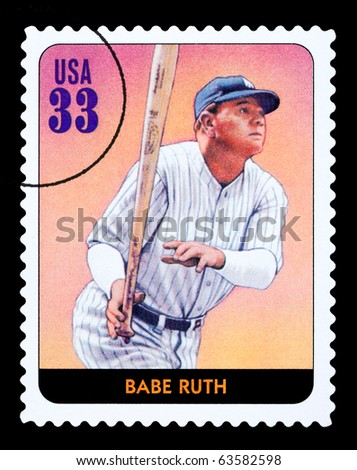 UNITED STATES - CIRCA 2005: A postage stamp printed in the USA showing Babe Ruth, circa 2005 - stock photo