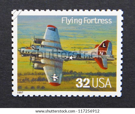 UNITED STATES - CIRCA 1997: a postage stamp printed in USA showing an image of a Flying Fortress aircraft, circa 1997. - stock photo