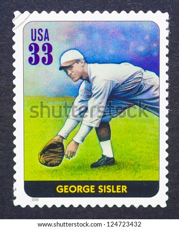 UNITED STATES - CIRCA 2000: a postage stamp printed in USA showing an image of George Sisler, circa 2000.