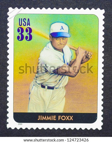 UNITED STATES - CIRCA 2000: a postage stamp printed in USA showing an image of Jimmie Foxx , circa 2000.