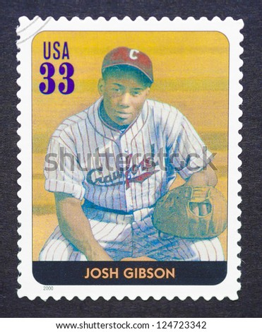 UNITED STATES - CIRCA 2000: a postage stamp printed in USA showing an image of Josh Gibson, circa 2000.