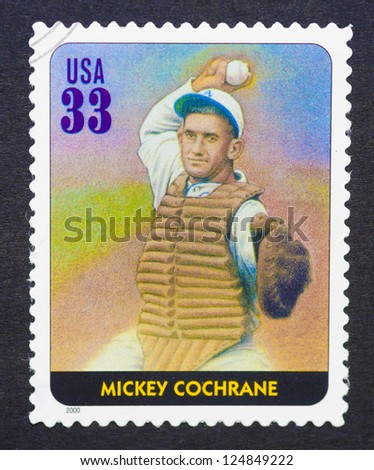 UNITED STATES -Â?Â? CIRCA 2000: A postage stamp printed in USA showing an image of Mickey Cochrane, circa 2000.