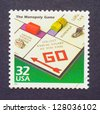 UNITED STATES  CIRCA 1998: a postage stamp printed in USA showing an image of monopoly game, circa 1998. - stock