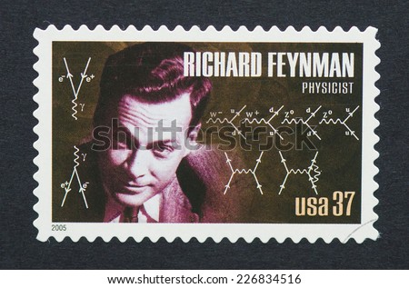 UNITED STATES - CIRCA 2005: a postage stamp printed in USA showing an image of Nobel prize winner Richard Feynman, circa 2005.
