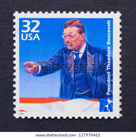 UNITED STATES - CIRCA 1998: a postage stamp printed in USA showing an image of president Theodore Roosevelt, circa 1998. - stock photo