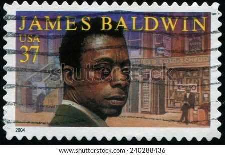 UNITED STATES - CIRCA 2004: a postage stamp printed in USA showing James Arthur Baldwin (August 2, 1924 - December 1, 1987) american novelist, essayist, playwright, poet, and  critic., circa 2004. - stock photo