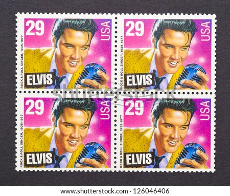 UNITED STATES - CIRCA 1993: a set of four stamps printed in USA showing an image of Elvis Presley, circa 1993. - stock photo