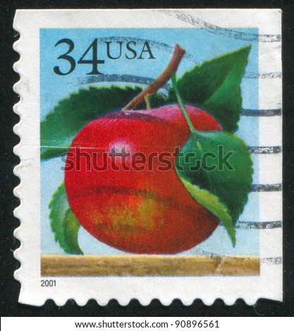 UNITED STATES - CIRCA 2001: A stamp printed by United States of America, shows apple, circa 2001 - stock photo