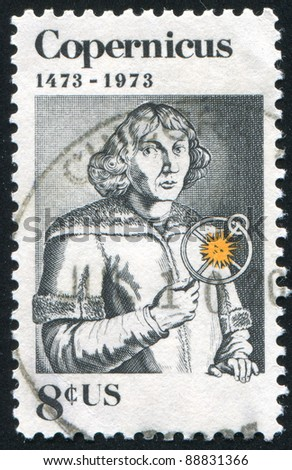 UNITED STATES - CIRCA 1973: A stamp printed by United states, shows Nicolaus Copernicus, circa 1973