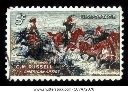 "UNITED STATES - CIRCA 1964: A stamp printed in the United States , shows a picture of ""Jerked Down"" by Charles M. Russell , American artist (1864-1926), circa 1964"