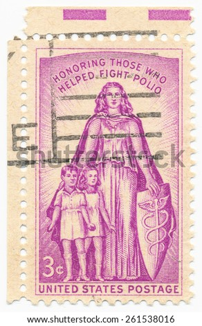 "UNITED STATES - CIRCA 1957: A stamp printed in the United States, shows childrens and  woman, ""Those who helped fight polio"" 20th anniv. of the National Foundation for Infantile Paralysis, circa 1957 - stock photo"