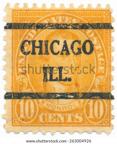 "UNITED STATES - CIRCA 1923: A stamp printed in the United States, shows portrait of the James Monroe (1758-1831) and overprint ""Chicago ILL."", circa 1923 - stock photo"
