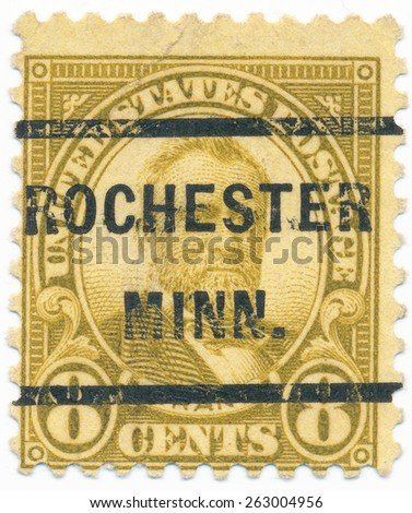 "UNITED STATES - CIRCA 1923: A stamp printed in the United States, shows portrait of the Ulysses S. Grant (1822-1885) 18 president US and overprint ""Rochester Minn."", circa 1923"