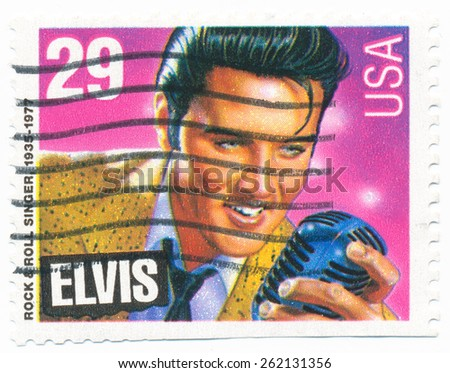 UNITED STATES - CIRCA 1992: A stamp printed in the United States, shows the Elvis Presley (1935-1977), American Music Series, circa 1992 - stock photo