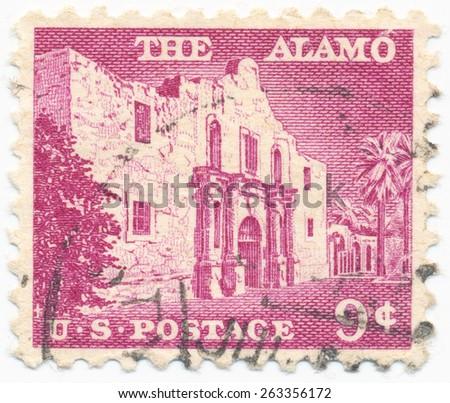 UNITED STATES - CIRCA 1956: A stamp printed in the United States, shows the Monastery Alamo at San Antonio, circa 1956 - stock photo