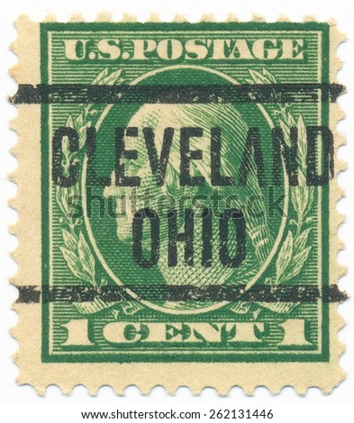 "UNITED STATES - CIRCA 1914: A stamp printed in the United States, shows the portrait of the George Washington (1732-1799) first President of the United States and postmark ""Cleveland Ohio"", circa 1914 - stock photo"