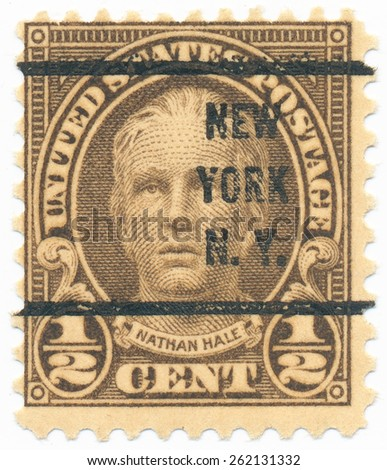 "UNITED STATES - CIRCA 1925: A stamp printed in the United States, shows the portrait of the Nathan Hale (1755-1776) was a soldier for the Continental Army and postmark ""New York"", circa 1925 - stock photo"