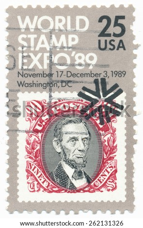UNITED STATES - CIRCA 1989: A stamp printed in the United States, shows the World Stamp Expo, and portrait of  the Abraham Lincoln, circa 1989 - stock photo