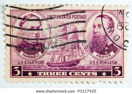UNITED STATES - CIRCA 1936 : A stamp printed in United States. Displays the image of Farragut and Porter as well as the USS hartford and USS Powhaton. United States - Circa 1936