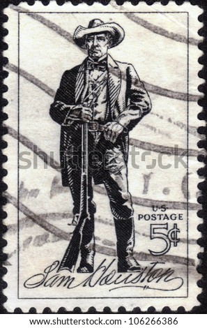 UNITED STATES - CIRCA 1964 : A stamp printed in United States. Sam Houston (1793-1863) was a soldier and first President of the Republic of Texas. United States - CIRCA 1964