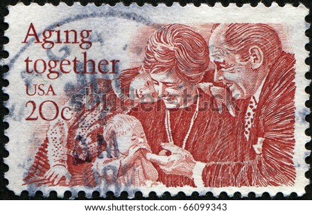 UNITED STATES - CIRCA 1982: A stamp printed in United States, shows eldery peoples with childs, circa 1999