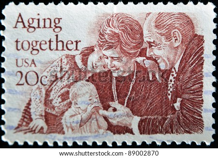 UNITED STATES - CIRCA 1982: A stamp printed in United States, shows peoples with childs, circa 1999
