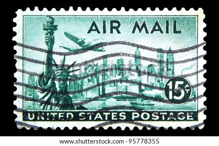 "UNITED STATES - CIRCA 1947: A stamp printed in United states (USA) shows a plane, Statue of Liberty and New York Skyline with the inscription and name of series ""AIR MAIL"", circa 1947"