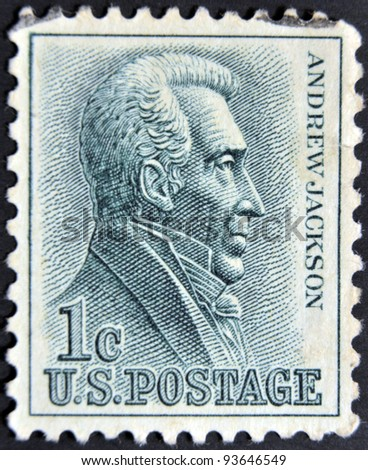 UNITED STATES - CIRCA 1962: A stamp printed in USA shows Andrew Jackson (1767-1845) - Seventh President, circa 1962 - stock photo